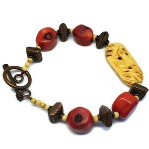 Carved Bone Bird Coral Copper Bead Bracelet